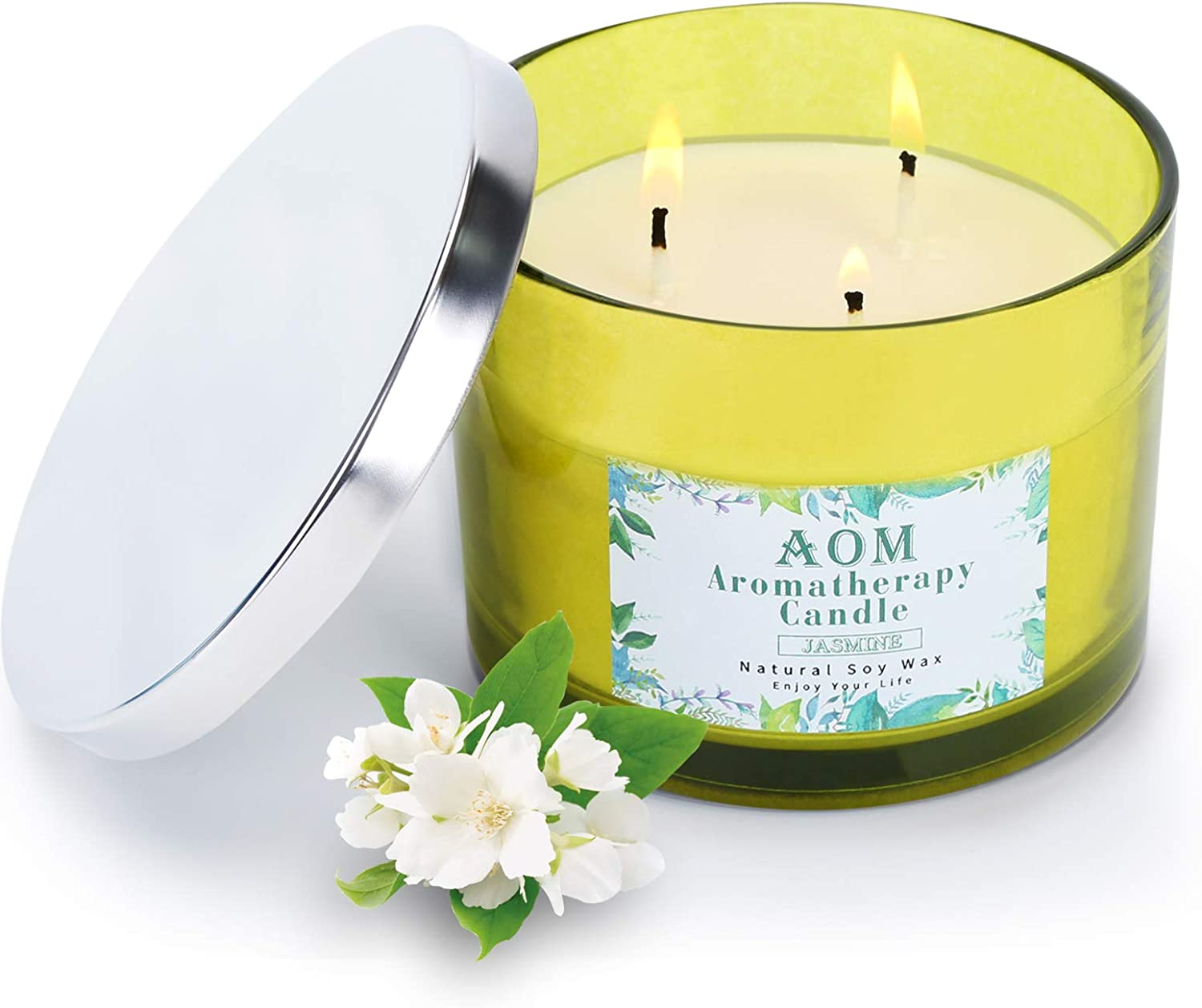 AOM Jasmine Candles Max Beauty products 59% OFF for Home Aromatherapy 3-Wick Candle Scented