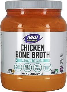 NOW Sports Nutrition, Chicken Bone Broth Powder made with Premium-Quality Chicken Bone Extract, 1.2-Pound