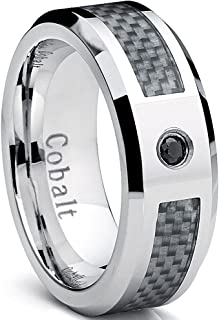 Cobalt Men's Wedding Band Ring with White Carbon Fiber Inlay and 0.04 Black Diamond, 8mm Sizes 8-12