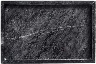 Gnirue Natural Black Marble Tray, Kitchen Bathroom Storage Organizer (11.8''x 7.9''x 1.2'')