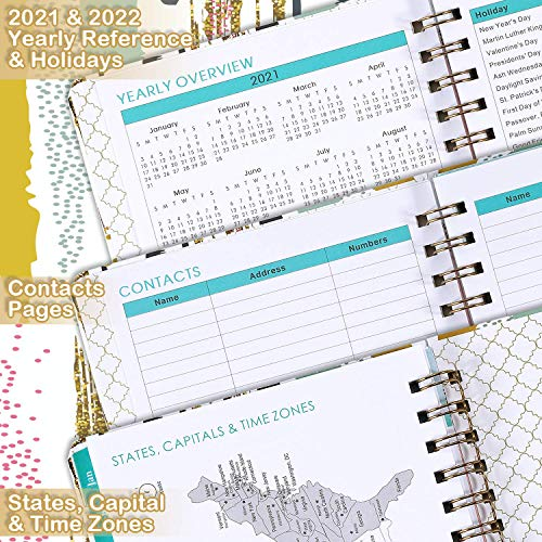 "Planner 2021 - Weekly & Monthly Planner 2021 with Tabs, 6.37"" x 8.46"", Yearly 2021 Planner, Flexible Hardcover, Strong Twin-wire Bounded, Back Pocket, Elastic Binding"
