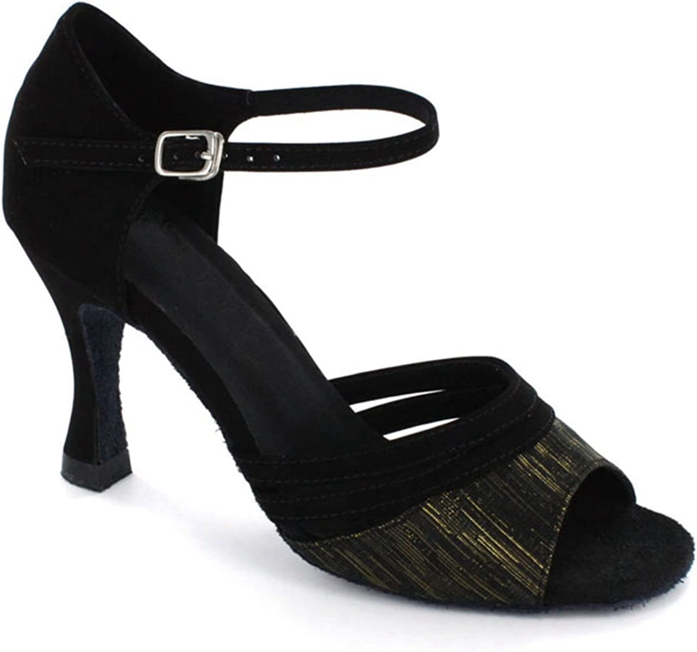 TDA Women's Comfortable Open Toe Suede Vintage Design Latin Dance Modern Dance shoes