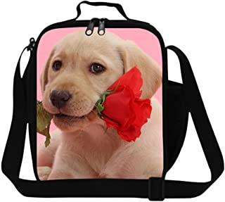 Generic Womens Thermal Lunch Bags Dog Pattern Insulated Lunch Container Shoulder Lunch Bag with Strap