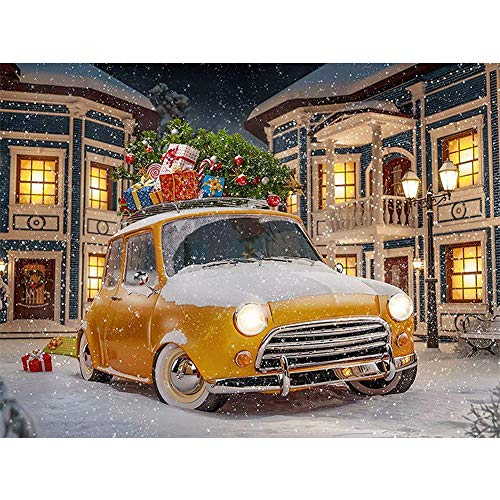 Diamond Painting Full Round Drill Art Kit DIY Cross Stitch DIY Arts Craft Wall Decor Christmas Gift Yellow Car 15.7x11.8 in by BOYIsy