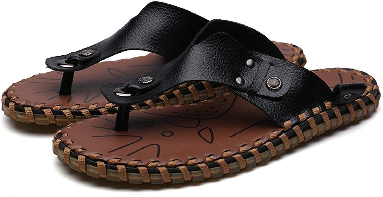 XUJW-Sandals, Men's Thong Flip Flops shoes Genuine Leather Beach Slippers Casual Handwork Non-Slip Soft Flat Sandals