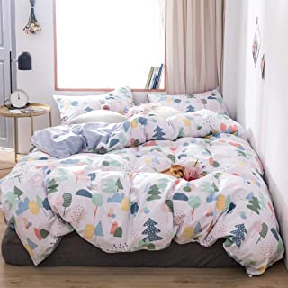 VCLIFE Christmas Theme Bedding Sets, Cotton Queen White Blue Pine Trees Pattern Reversible Arrow Geometric Design Bedding Collection for Kid Teen Adults (1 Duvet Cover 2 Pillow Cases)