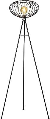 B.K.Licht Lampadaire rétro avec abat-jour de 40 cm I interrupteur à pied I hauteur 153 cm I douille E27 I métal I noir
