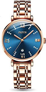 Female Watches for Women Automatic Mechanical Movement Stainless Steel Rose Gold Luxury Ladies Wrist Watch Waterproof Blue face Dial Watch Set for Women