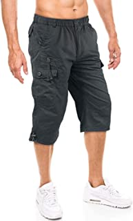 KEFITEVD Men's Cotton 3/4 Capri Shorts Casual Military Elastic Cargo Shorts with Multi Pockets