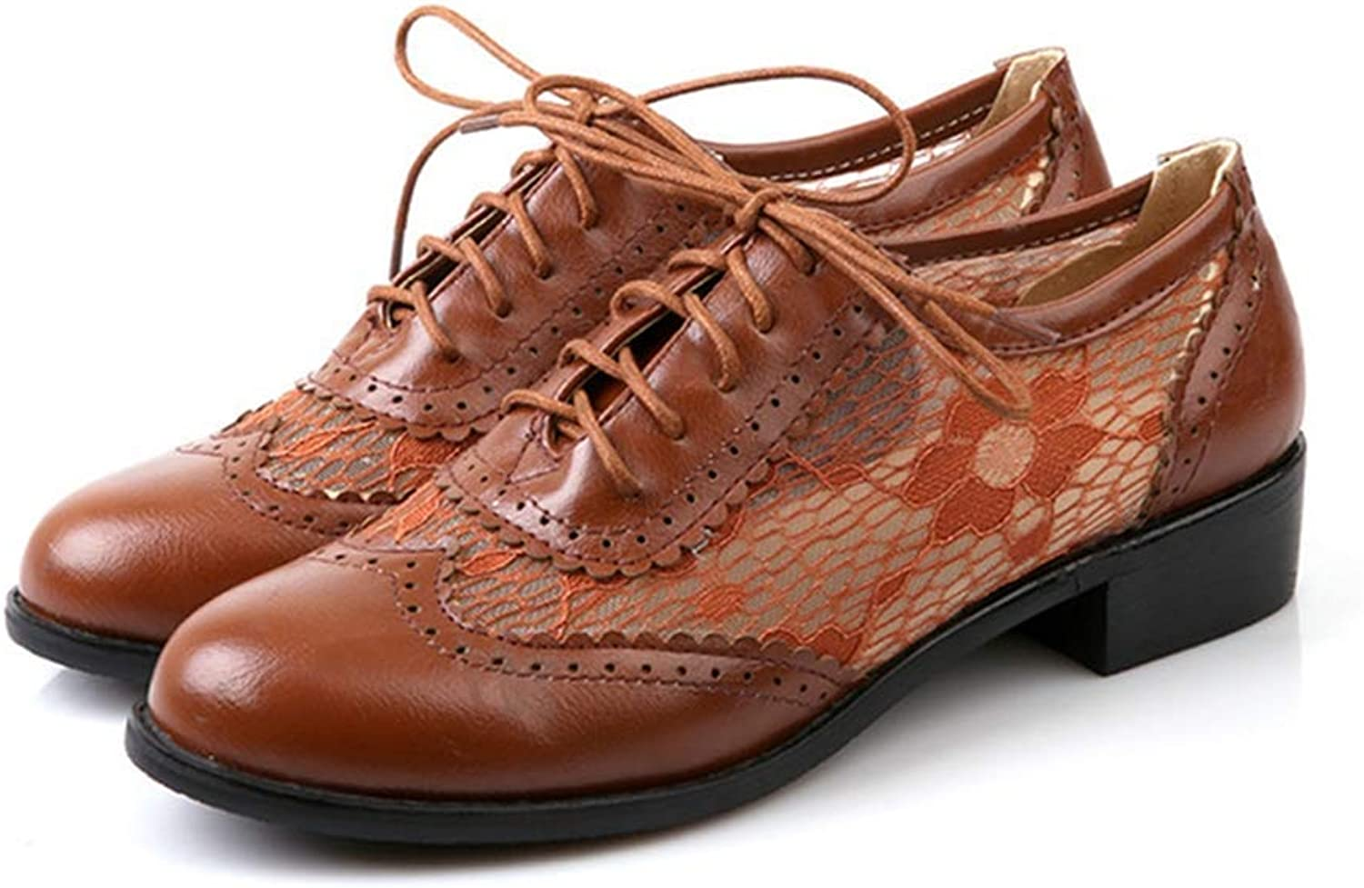 Women's Lace Wingtip Oxfords shoes Vintage Brogues Lace-up Flat Low Heel Classic Dress Oxford Brown