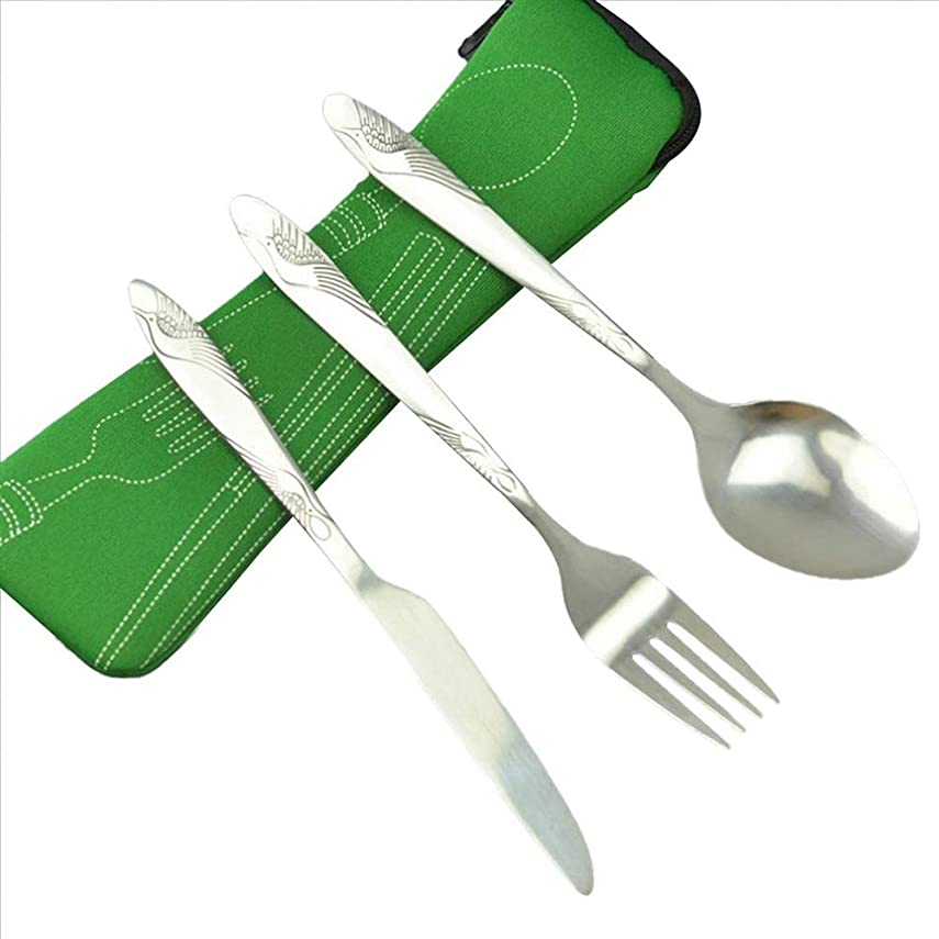 切手冒険グッゲンハイム美術館YIJUPIN ステンレス鋼カトラリーセット食器は を設定布バッグランチツールと軽量ポータブルトラベル食器セットを設定します。 (色 : オレンジ)