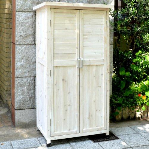 ガーデンガーデン 木製収納庫 物置 Potager(ポタジェ) ハイタイプ(高さ150cm×幅80cm×奥行き50cm) ウォッシュホワイト WS-1500WHT