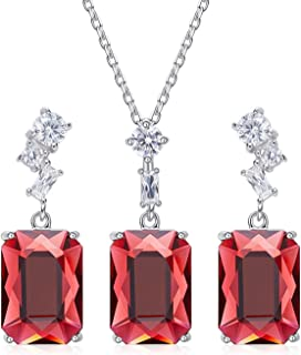 Gnzoe Jewelry Set Women Ladies 925 Sterling Silver Earring and Necklace Set Trapezoid Red