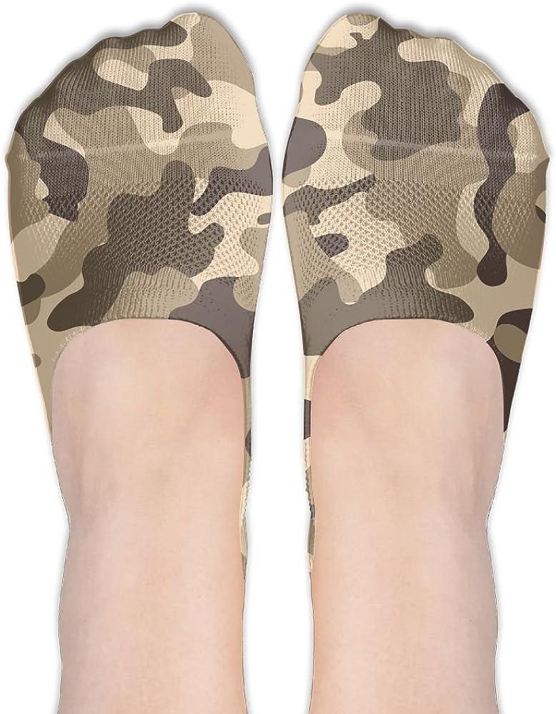 YISHOW Camouflage Forest War No-Show Socks Casual Anti Slip Low Cut Crew Boat Sock Hidden Flat Line