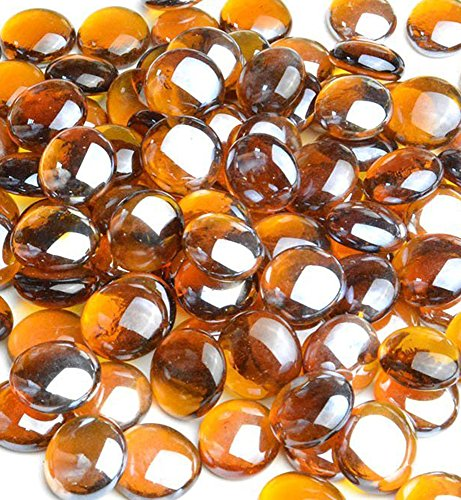 Outspark High Luster, 10-Pound 1/2 inch Fire Glass Drops for Fireplace Fire Pit (Amber Luster)
