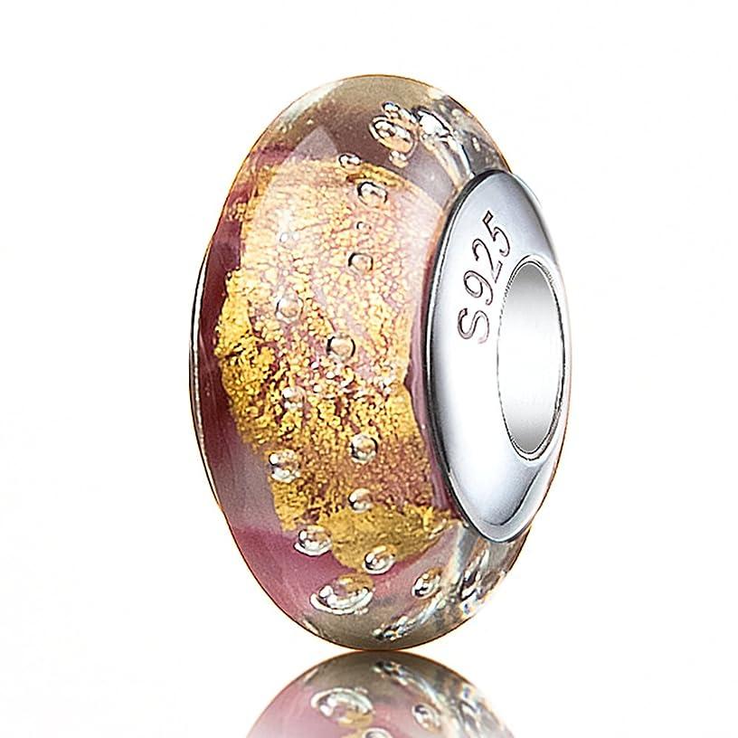 ATHENAIE Genuine Murano Glass 925 Silver Core Gold Foil Charm Bead Fit European Bracelets for Girls