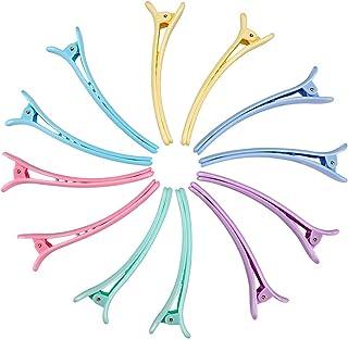 Rioa 10 Pcs Hair Clips-Professional Non-Slip Multicolor Plastic Duck Teeth Bows Hair Clips with Anti-slip Ergonomic desig...