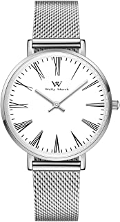 Welly Merck Roman Numeral Dial Womens Watch Classy 32MM Minimalistic Swiss Quartz Movement Sapphire Crystal Stainless Steel Wrist Watch with Interchangeable Strap