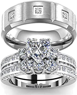 AMDXD Jewellery Stainless Steel Wedding Band for Men Rhombus Cubic Zirconia Ring