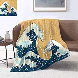 Mademai Japanese Wave Plush Blanket Sea Storm in Japan Traditional Drawing Foamy Great Waves Super Soft and Comfortable Warm Blanket 80