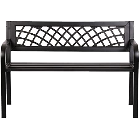Garden Bench Bench Park Outdoor Bench for Patio Metal Bench Park Bench with Plastic Backrest Armrests Sturdy Steel Frame Furniture for Yard Porch Work Entryway,Black