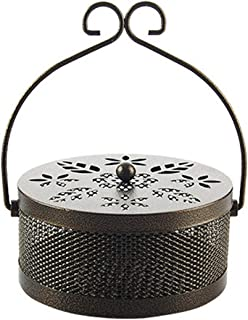 ROSEBEAR Iron Mosquito Coil Holder Retro Portable Fireproof Mosquito Incense Burner with Lid for Home and Camping