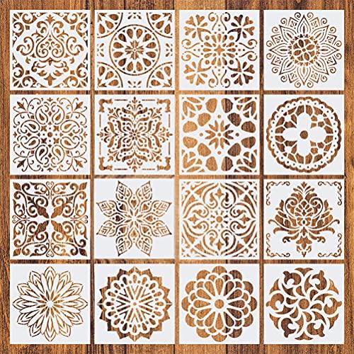 Plantillas de Mandala, MOPOIN 16 Piezas Mandalas Stencil, Reutilizables Plantillas Estarcido Mandalas, Pplantillas para Pintar para Muebles, Azulejos, Paredes, Álbum de Recortes, DIY Decoración