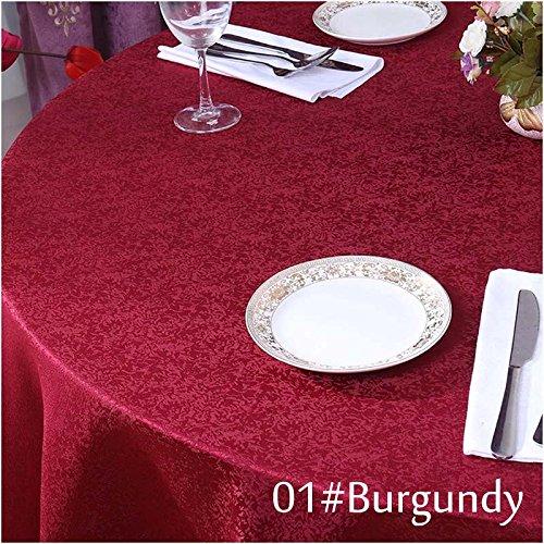 BLUELSS 1PC gros carré Jacquard Nappe nappe en lin blanc pour le mariage Partie de la décoration de l'événement Textile Accueil Tableau couvre,Bourgogne,260cm de diamètre,Chine