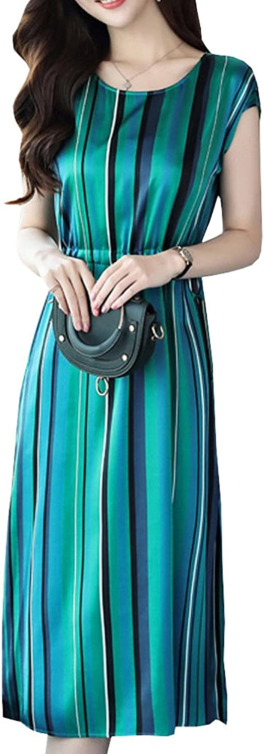 Dissa S8808 Women Vintage Sleeveless Midi Cocktail Plus Size Silk Summer Dress