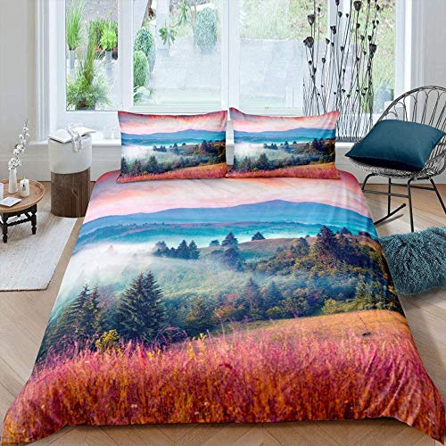 Msortatnl Red Sky Mountain Forest Trees Grass Landscape - Duvet Quilt Cover & Pillowcase Bedding Set Super King (260 X 220 Cm)