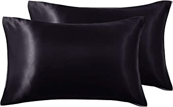 Love's cabin 2-Pack Satin Pillowcases Set for Hair and Skin Queen Size 20x30 Black Pillow Case with Envelope Closure (Anti Wrinkle,Hypoallergenic,Wash-Resistant)