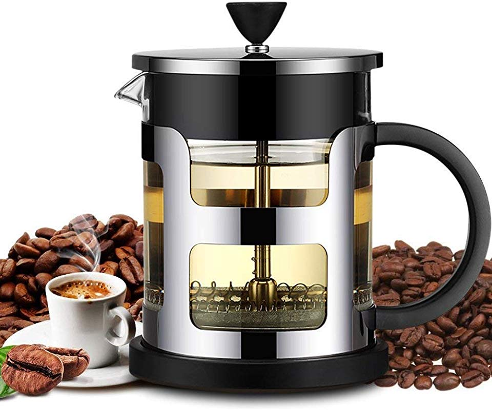 French Press Coffee Maker FlatLED Coffee Tea Maker 304 Grade Stainless Steel Filter 3 Level Filtration System Heat Resistant High Borosilicate Glass Protecting Black Base Handle 20 Oz