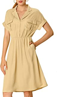 Allegra K Women's Notched Lapel V Neck Elastic Waist Loose Shirt Dress