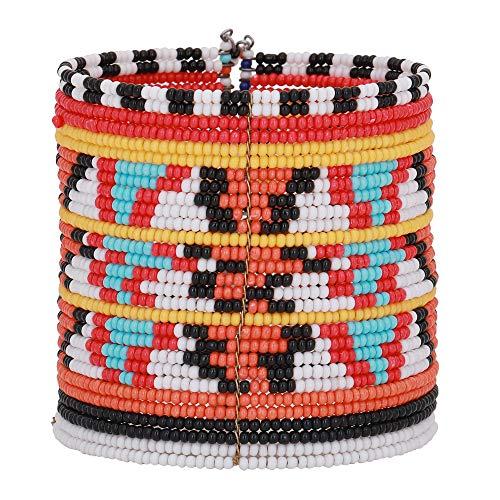 ZIKU JEWELRY Bohemian Ethnic Carpet Style Cuff Bracelet Free Size Multi Color Glass Beads for Women & Girls