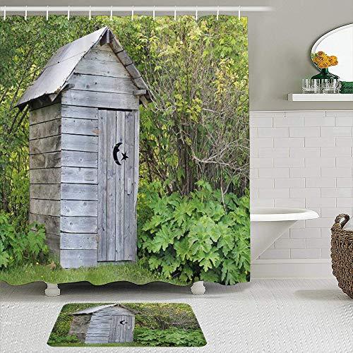 AIKIBELL Ensemble de 2 Rideaux de Douche et Tapis,Outhouse Vintage Farm Life Cottage Grange Han,Tapis antidérapants,Rideaux de Bain imperméables avec 12 Crochets