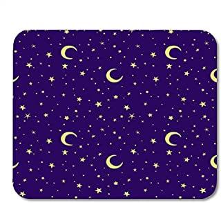 Spiel-Mausunterlage Lila Nachtgoldener gelber Mond und Stern-Himmel auf Blau 25X30 cm rutschfeste Gummiunterlage des Büro-Mäusematte