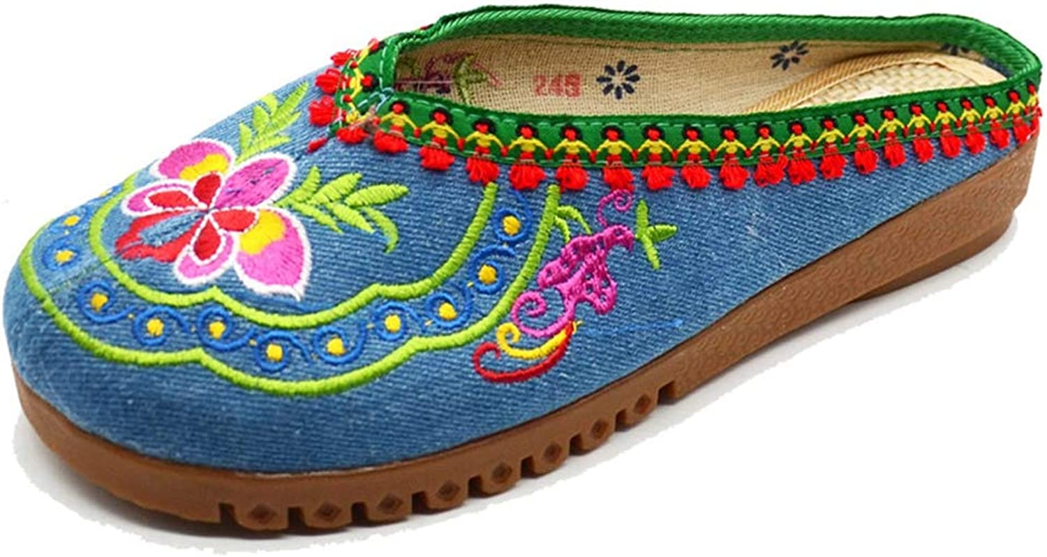 T-JULY Flower Sandals for Women Handmade Summer Embroidered Slippers