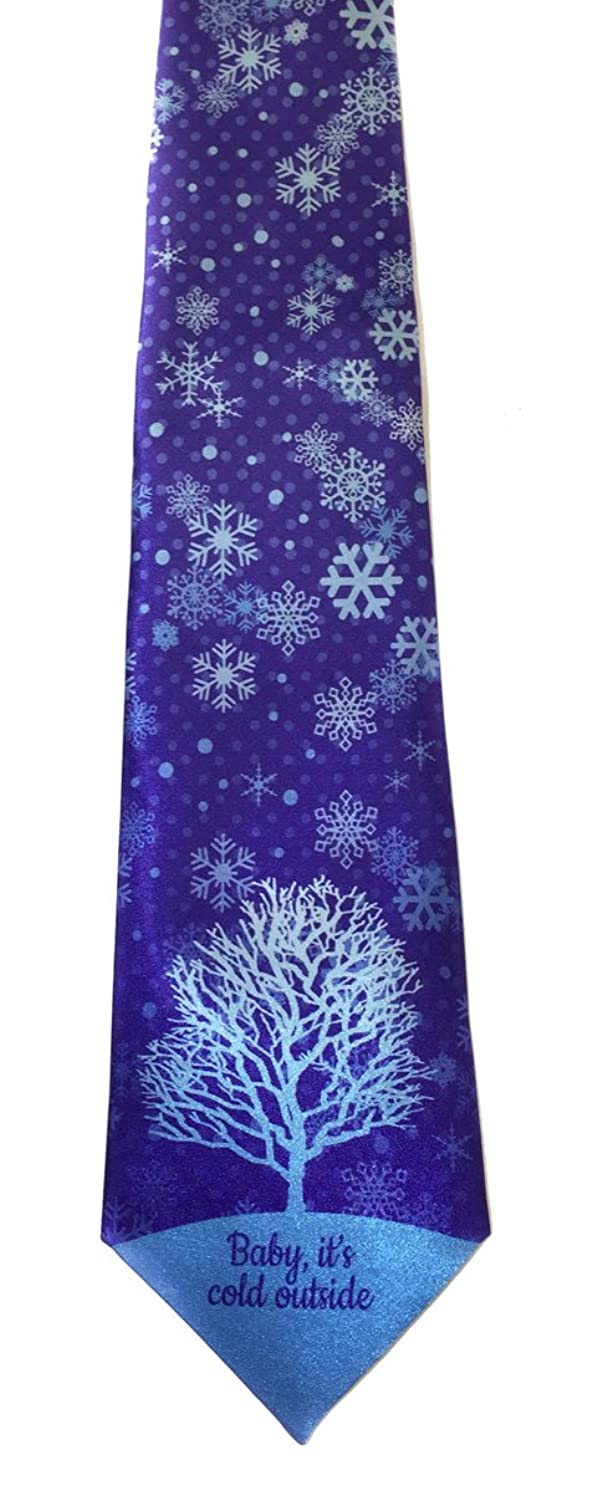 Stonehouse Collection Men's Winter Tie - Snow Theme Winter Necktie