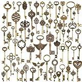 Outflower. Lot de 69 Clés Couleur Bronze Style Vintage et Ancien Pour Création de Bijoux Retro Breloque Main DIY Pendentif Accessoires