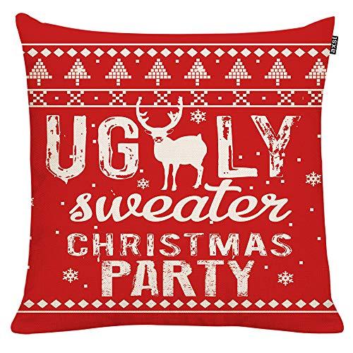 GTEXT - Funda de cojín de Navidad, decoración navideña, suéter Rojo Feo, Funda de Almohada para sofá, decoración del hogar, Almohadas de Lino de 18 x 18 Pulgadas