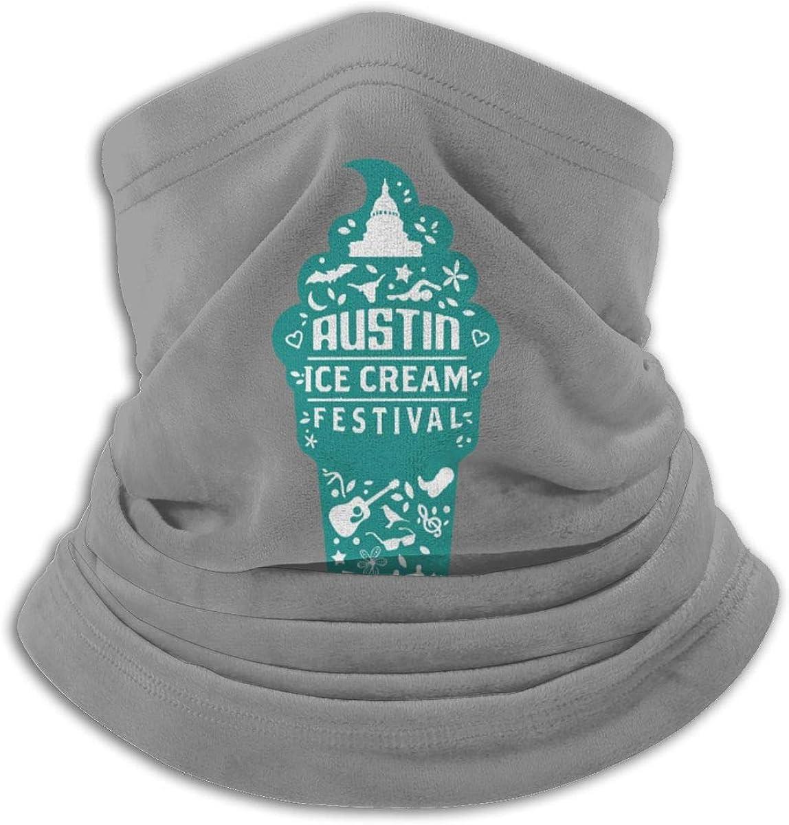 Austin Ice Cream Festival Black Multi-function Neck Warmer Gaiter Polyester Neck Warmer Windproof Winter Neck Gaiter Cold Weather Scarf For Men Women