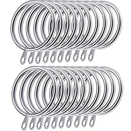 Shappy 20 Piezas de Anillos de Cortina de Metal Anillas Colgante para Cortina y Barras, 30 mm de Diámetro Interno (Plateado)
