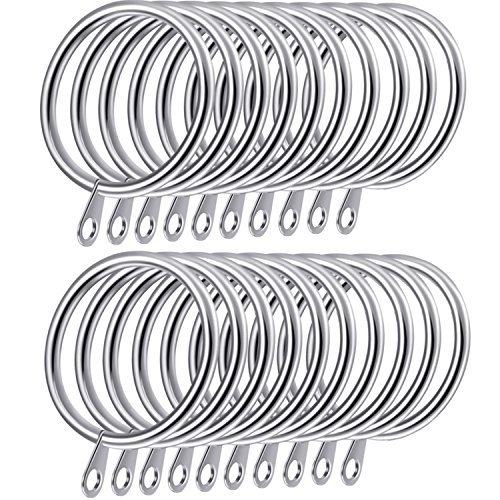 Shappy Metal Drapery Curtain Rings Hanging Rings for Curtains and Rods, Drape Sliding Eyelet Rings 30 mm Internal Diameter (Silver, 20 Pack)