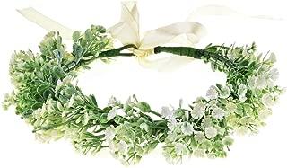Love Sweety Baby's Breath Flower Crown Bohemian Bridal Grass Headband Succulent Eucalyptus Halo (White)