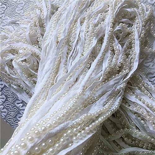 19.6In ruban blanc imitation perle dentelle accessoires, produits de perles blanches Les rubans ne sont pas des dentelles en dentelle, des décorations de décoration à la maison conviennent à la décora
