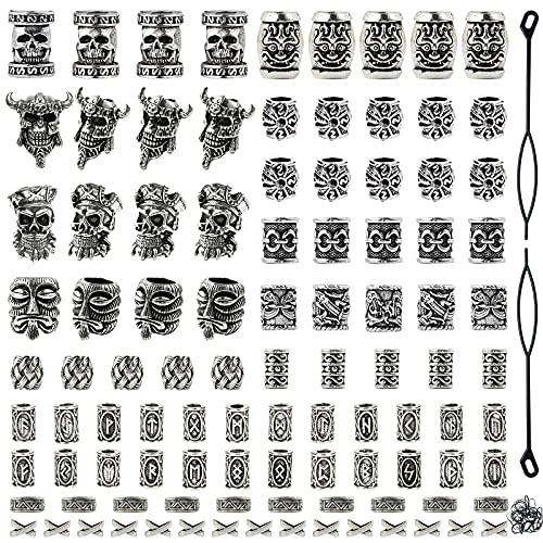 Showgeous 100 Pcs Viking Beard Beads Antique Norse Vikings Runes Hair Tube Beads Pirate Skull Dreadlocks Beads Silver Dreadlocks Beads for Hair Braiding Bracelet Necklace DIY Jewelry Hair Decoration