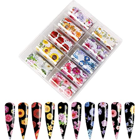 Flower Nail Foils Nail Art Foil Transfer Stickers 10 Rolls Nail Art Supplies Foils Flowers Starry Sky Nail Decals Manicure Tips Wraps for Women Acrylic Nail Art Decorations Summer Nail Art Designs