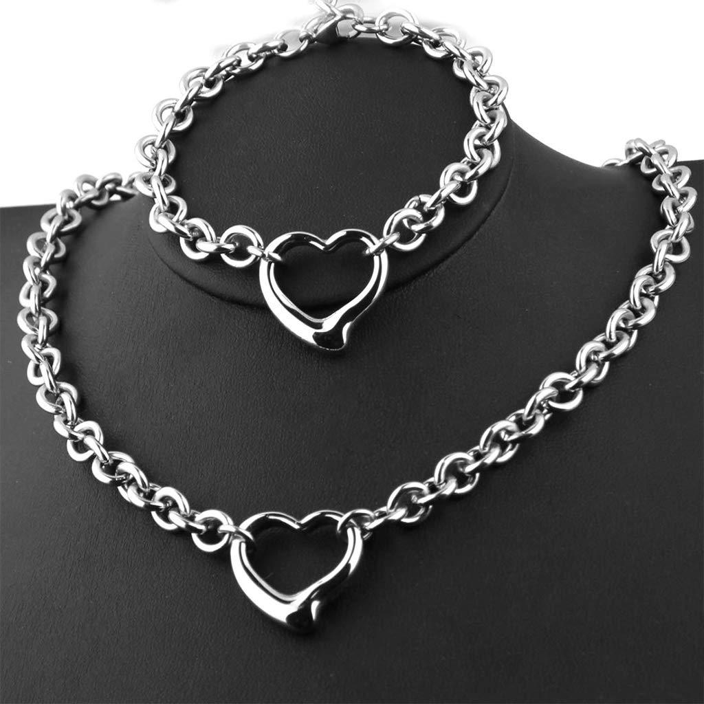 OHDUJK Stainless Steel Necklace Bracelet Fashion Women Charm Jewelry Set