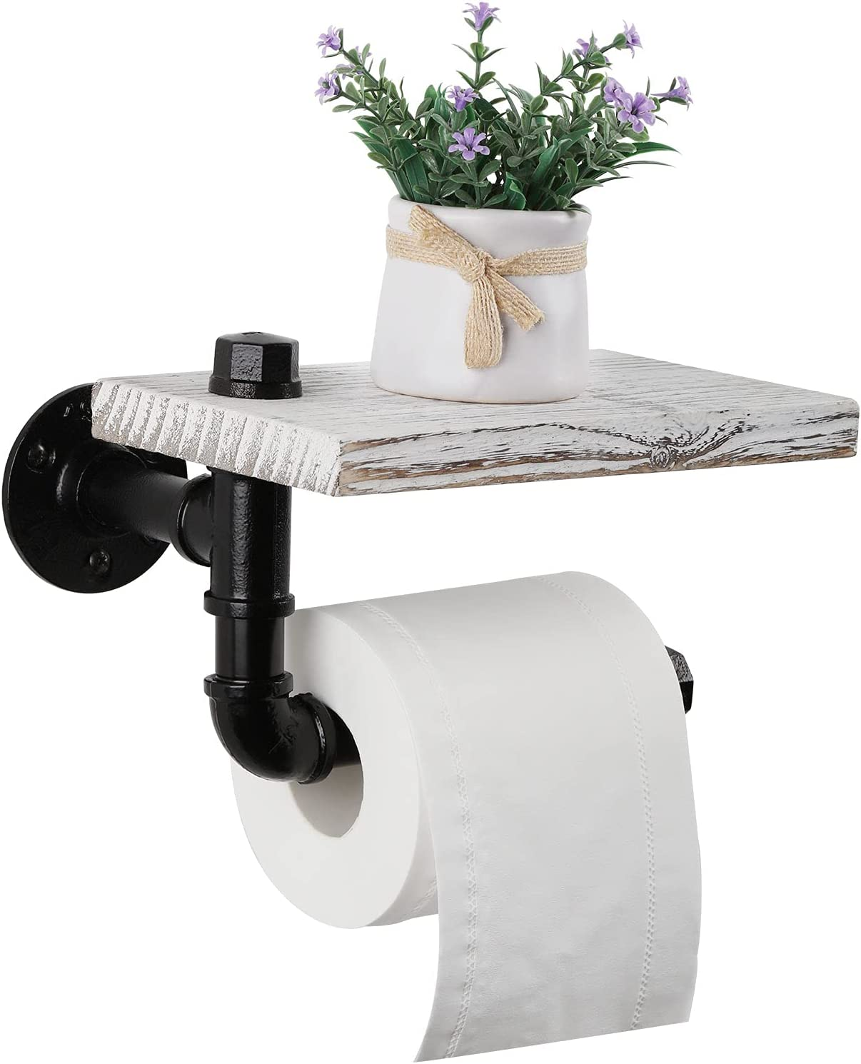 Toilet Paper Holder with Wood Shelf Industrial Pipe Toilet Tissu
