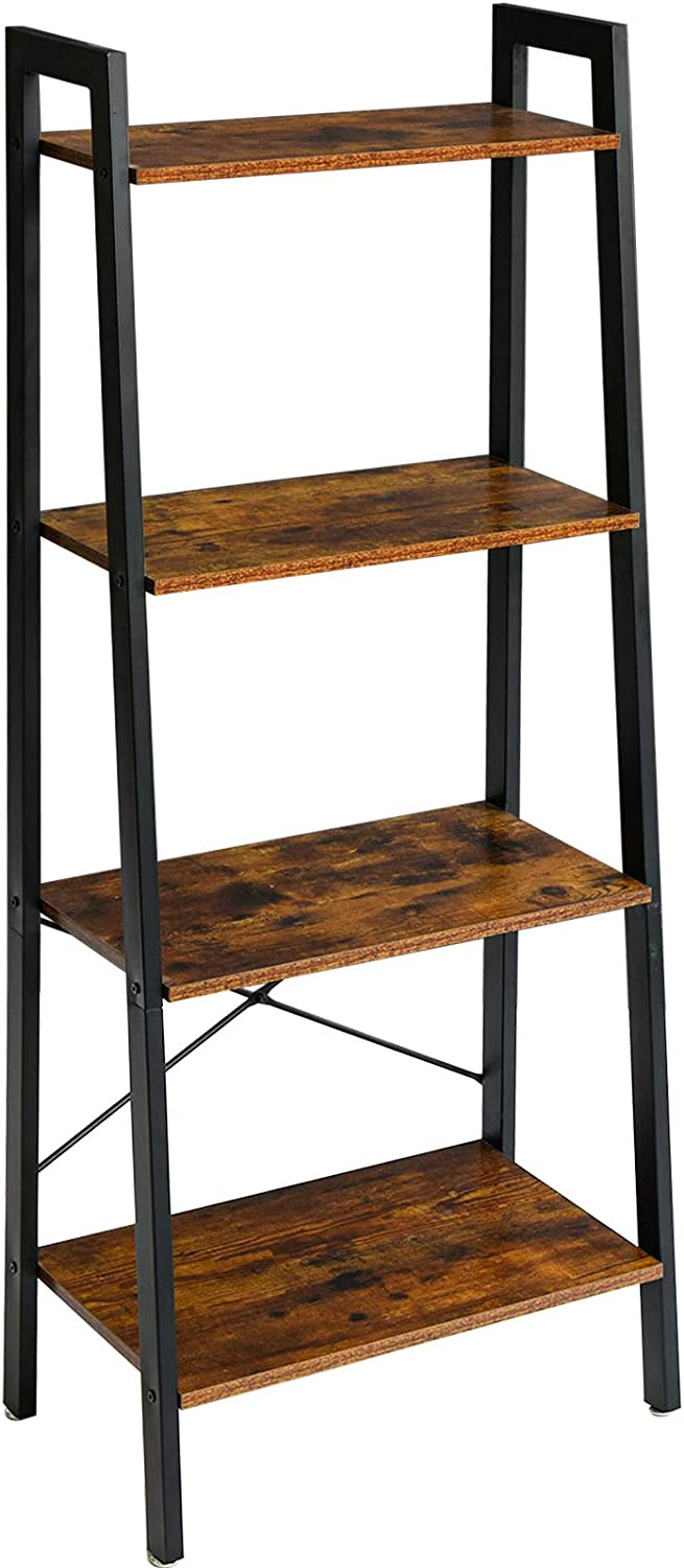 YMYNY Be super welcome Industrial Ladder Shelves 4-Tier Directly managed store Fra with Bookshelf Metal